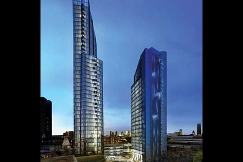 Wilkinson Eyre's twin towers at 20 Blackfriars Road awaits Boris' verdict.